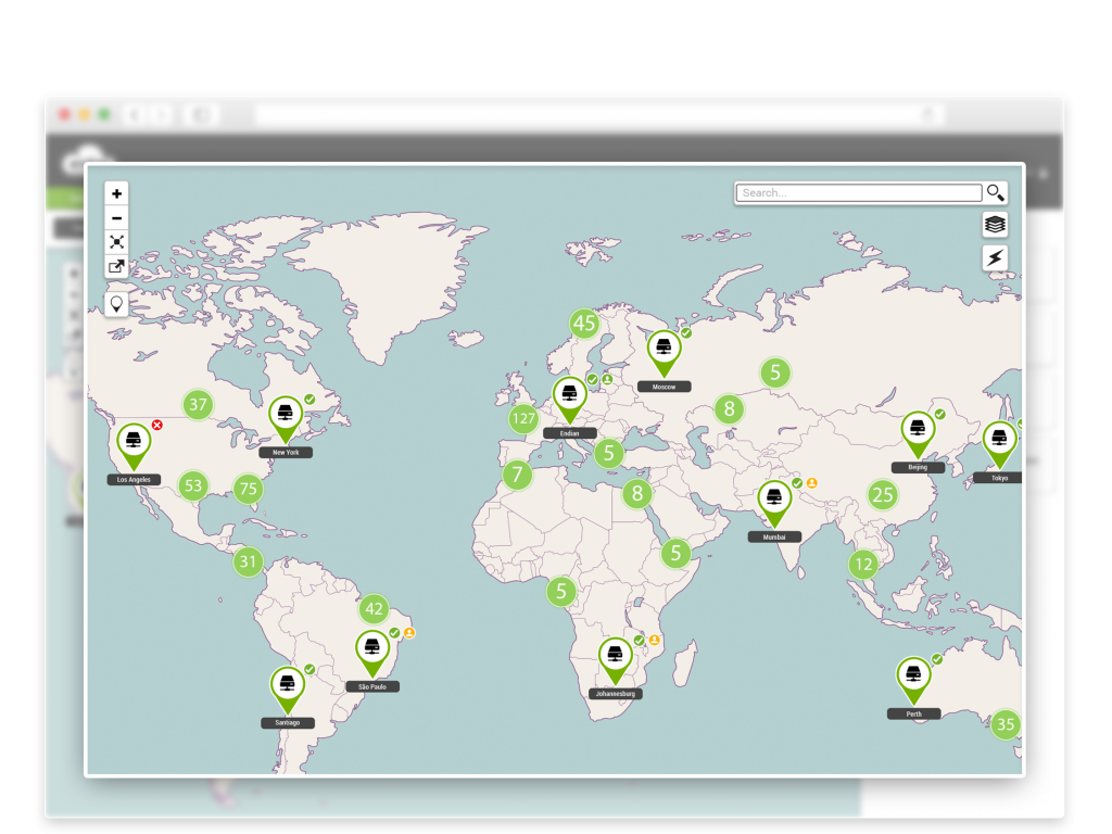 Live global map view of all your remote sites