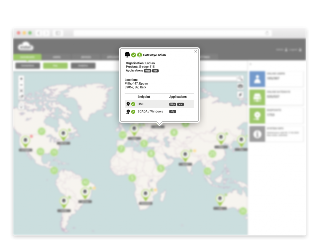 Detail view gives you site information and quick links for remote access