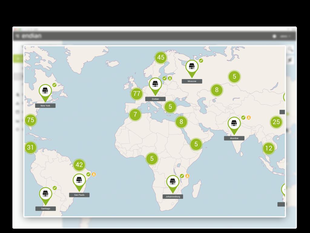 Live-Maps zeigen Ihre global verteilten Standorte.