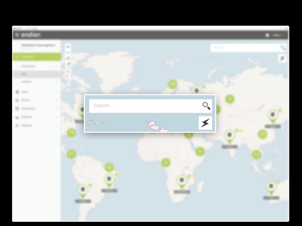 Suchen Sie nach Standortinformationen oder filtern Sie die Kartenansicht, um nur bestimmte Standorte anzuzeigen.